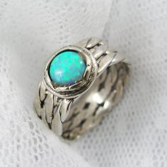 Opal ring. Exquisite braided opal sterling silver ring (sr-9592). birthday gifts, gift for her, opal jewelry