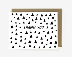 Thank You Triangle Pattern - Boxed Set of 8 - Everyday Stationery - Screen Printed Folding Thank You Card I Spy Diy, Thank You Note Cards, Triangle Pattern, Silk Screen Printing, Kraft Envelopes, Stationery, Greeting Cards, Prints, Triangles