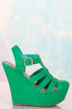 Shoe Love! Must have green close-toed wedges! The perfect pop of color to your spring outfits! Love!