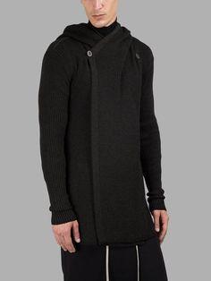 RICK OWENS Rick Owens Men'S Drak Grey Knitted Hoodie. #rickowens #cloth #knitwear