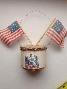 Antique Patriotic Civil War Scrap Christmas Ornament Lady Liberty 13 Star Flag