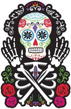 Questa decorazione murale rappresenta il busto di uno scheletro, le braccia e la testa. Esso è decorato con i motivi e i colori tipici della festa dei morti messicana. Sarà perfetto per completare una decorazione in perfetto stile Dia de los Muertos per la notte del 31 Ottobre.