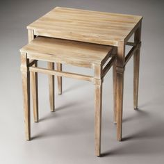 Wood nesting tables.