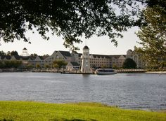 Disney's Yacht Club and Lighthouse Across Crescent Lake.