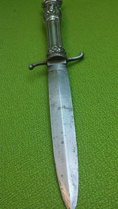 Couteau ancien...dague de vertu romantique....Poignée en argent...chatellerault. | eBay