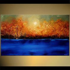 Merveilleux paysage peinture Blue River floraison des arbres acrylique de Texture par Osnat - sur commande - 40 « x 24 »