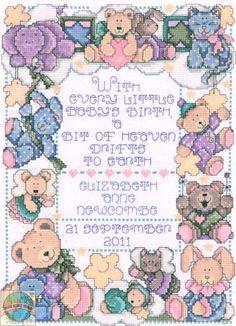 Design Works - A Bit of Heaven Birth Record - Cross Stitch World Baby Cross Stitch Kits, Baby Cross Stitch Patterns, Cross Stitch Love, Cross Stitch Samplers, Cross Stitch Charts, Counted Cross Stitch Patterns, Cross Stitching, Cross Stitch Embroidery, Stitching Patterns