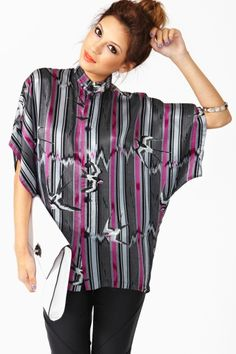 Kansai Yamamoto Silk Crane Blouse