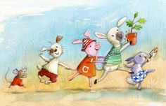 watercolour children's Illustrator Pig Lamb Rabbit Dog Mouse conga gardening