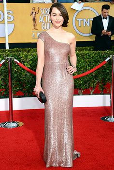 Emilia Clarke in a custom-designed gown by Francisco Costa for Calvin Klein Collection at the 2014 SAG Awards