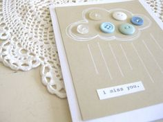 I miss you - Button cloud greeting card
