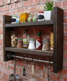 Industrial Rustic Kitchen Wall Shelf Spice Rack with Hooks via Etsy. : Industrial Rustic Kitchen Wall Shelf Spice Rack with Hooks via Etsy. Kitchen Wall Shelves, Wood Wall Shelf, Kitchen Rack, Wood Shelves, Kitchen Decor, Kitchen Wood, Wall Hooks, Kitchen Ideas, Pallet Kitchen Cabinets