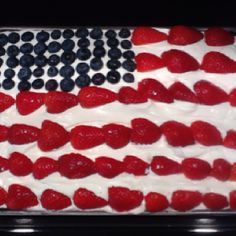 Red Velvet Stars & Stripes Poke Cake...  Ingredients: 1 box red velvet cake mix (follow directions for 13x9 pan) 2-3 eggs Vegetable oil 1 tub Cool Whip 2 packs Jell-O instant cheesecake pudding 1 cup confectioners sugar 4 cups cold milk 1 pint of strawberries (sliced/washed) 50 blueberries (washed)  1-prepare cake mix as directed on box 2-remove from oven & poke holes quickly with handle of wooden spoon; make holes about 1 inch apart 3-AFTER POKING HOLES, combine pudding mix with sugar in a…