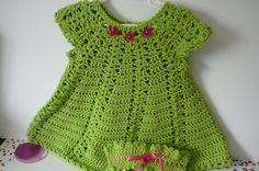 Crocheted Dress and Headband Set/Baby Girl/Green/Acrylic      READY TO SHIP       Size 6 to 12 months