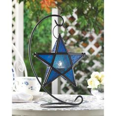 Blue Glass Star Lantern Stand , Moroccan Candleholders - The House of Awareness, The House of Awareness  - 1