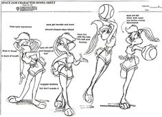 Model sheets for Bugs Bunny and Lola Bunny. Bugs's design changed a few times, though it has been more or less the same since 1940.