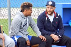 Marcus Stroman and Russell Martin of the Toronto Blue Jays Marcus Stroman, Russell Martin, Baseball Boys, Mlb Teams, American League, Spring Training, Toronto Blue Jays, Go Blue, Hockey