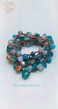 Turquoise Blue Crochet Boho Chic Necklace,#VintageRoseGallery, #etsy, 6 Wrap Crocheted Bracelet, Summer Boho Necklace, Long Statement Necklace by VintageRoseGallery