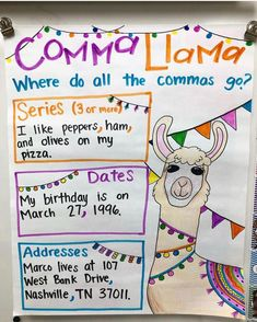 New anchor chart coming at ya! My kiddos are always either omitting commas or using them in all the wrong places. Llama llama don't forget… Teaching Grammar, Teaching Language Arts, Teaching Writing, Writing Activities, Kindergarten Writing, Math Writing, Sentence Writing, Teaching Ideas, First Grade Writing