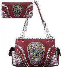 Red Calacas Sugar Skull Concealed Carry Purse W Matching Wallet #HBM #Hobo