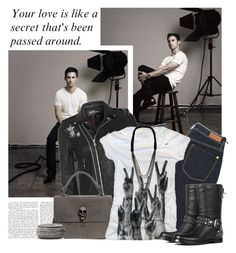 """43/50. Milo Ventimiglia"" by samantha ❤ liked on Polyvore featuring mode, Balmain, Thomas Wylde, Paul by Paul Smith, PalmerCash, J Dauphin, Miu Miu, MNG by Mango, skinny jeans et biker boots"