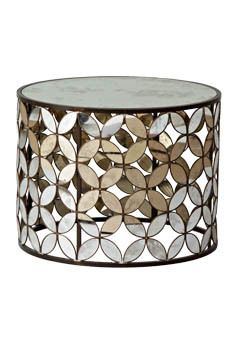 flower mirror drum table. my design books would look beautiful on top