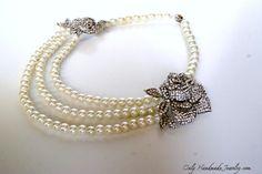 Vintage style pearls necklace. Ana Karenina style pearls and crystals necklace. Three strands pearl necklace. Wedding jewelry.