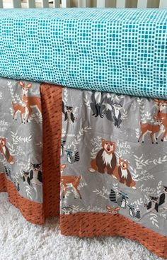 Forest Animals, Arrows, Deer, and Teal Toddler Bedding