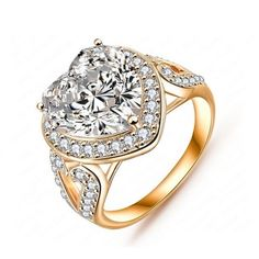 Amore Mio - CZ Diamond Platinum / Rose Gold Cocktail Ring