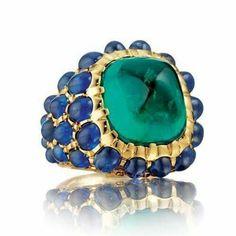 Verdura sapphire and emerald ring
