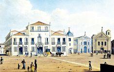 Tela de Johann Moritz Rugendas (1802-1858) ilustra o Paço Imperial, onde a família real desembarcou - Tuca Vieira/Folhapress