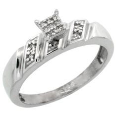 Sterling Silver Diamond Engagement Ring 0.07 cttw Brilliant Cut, 3/16 inch 5mm wide Sabrina Silver. $58.16
