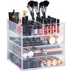 Beautify Large Clear Acrylic Cosmetic Makeup Organiser Stand with 3 Drawers, 21 Brush/Lip Gloss Holders & 6 Individual Top Sections
