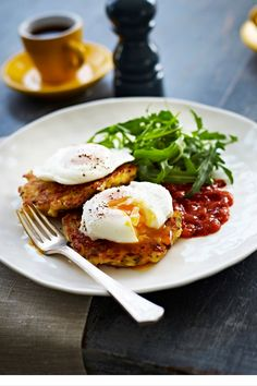 Brunch recipes for Cheesy Corn fritters, topped with perfectly poached eggs