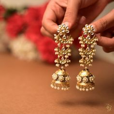 Long jhumkas, gold jhumkas, pearl jhumkas, traditional jewellery, traditional in… – Beauty Pearl Jhumkas, Gold Jhumka Earrings, Indian Jewelry Earrings, Jewelry Design Earrings, Gold Earrings Designs, Indian Wedding Jewelry, Bridal Earrings, Diamond Earrings, Gold Jewelry