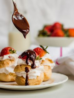 Profiteroles with whipped strawberry cream drizzled with rich chocolate ganache. The perfect dessert for sharing or family gatherings. French Desserts, Easy Desserts, Dessert Recipes, Pastry Recipes, Bread Recipes, Keto Recipes, Strudel Recipes, Baking Desserts, Italian Desserts