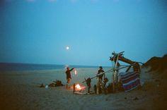 twilight beach bonfire