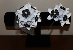Black and White Corsage & Boutonniere - Alternative Wedding Flowers - Prom Corsage and Boutonniere. $28.00, via Etsy.  #wedding #paperflowers #etsy #handmade #whitewedding #blackandwhite #corsage #boutonniere
