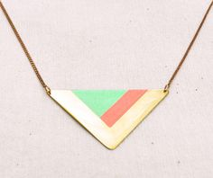 Double Triangle Necklace Southwestern Geometric Brass by ILIOS, $46.00