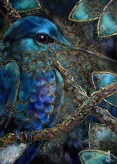 Art Colibri, Colorful Animal Paintings, Art Fractal, Art Visionnaire, Art Fantaisiste, Hummingbird Art, Bird Artwork, Tier Fotos, Visionary Art
