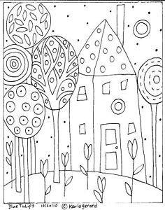 Rug Hooking Craft Paper Pattern Blue Tulips Folk Art Abstract Karla Gerard | eBay