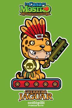 "Ocelopilli ""Guerrero Jaguar"" Mexican Gods, Mexican Style, Aztec Calendar, Mexican Heritage, Mexico Art, Aztec Art, Cute Pictures, Coloring Books, Native American"