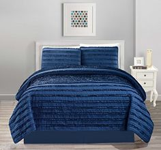 All American Collection New Pleated Ruffle Bedspread/Quilt Set with Bedskirt (Cal King Size, Navy Blue) King Size Comforters, King Comforter Sets, Bedroom Comforters, Ruffle Bedspread, Ruffles, Dust Ruffle, Cal King Size, Queen Size, Shabby