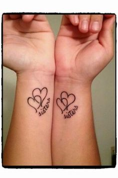 Best sister matching tattoo designs and ideas which are meaningful. Sibling tattoos designs and ideas, Small sister tattoos and ideas, unique tattoo ideas, Sister Heart Tattoos, Small Sister Tattoos, Matching Sister Tattoos, Sibling Tattoos, Bff Tattoos, Mother Daughter Tattoos, Family Tattoos, Tattoos For Daughters, Friend Tattoos