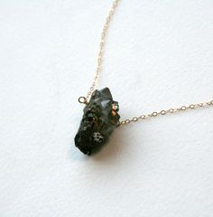 Gold Black Druzy Necklace  Rough druzy pieces on by StudioGoods