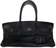 13,995.00 Hermes JPG (Jean Paul Gaultier) model Birkin bag in black Clemence leather with Palladium hardware in excellent condition! The size is 42 cm. The bag has longer handles than the regular Birkins