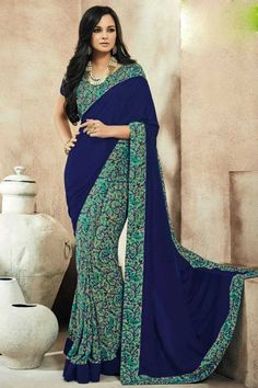 Blue and cream crepe saree with crepe blouse online http://www.andaazfashion.co.uk/womens/sarees/crepe