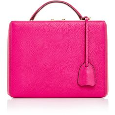 Mark Cross Grace Large Box Bag in Fuchsia Pebble Grain Leather (3,335 CAD) ❤ liked on Polyvore featuring bags, handbags, shoulder bags, handle bag, fuschia handbag, pink bag, top handle handbags and fuchsia bag