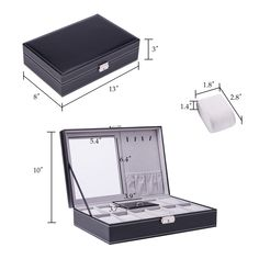 37e62a9ee COZ Black Leather Display Box Jewelry Box Lockable Watch Case 8  Compartments Jewelry clips and Mirror Watch Ring Necklace -- To view  further for this item, ...