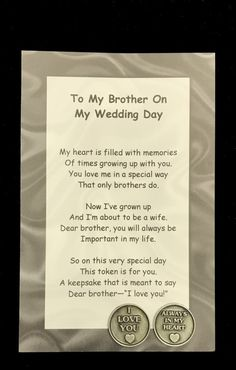 To My Brother on My Wedding Day Poem & Pocket Token Gift Set gifts for brother Your place to buy and sell all things handmade Brother Wedding Gifts, Gifts For Brother, Sister Wedding, Wedding Party Favors, Gifts For Wedding Party, Brother Poems, Wedding Gifts For Parents, Trendy Wedding, Our Wedding